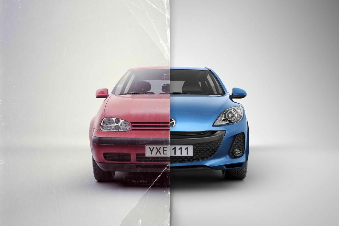kolaż starego i nowego samochodu marki mazda